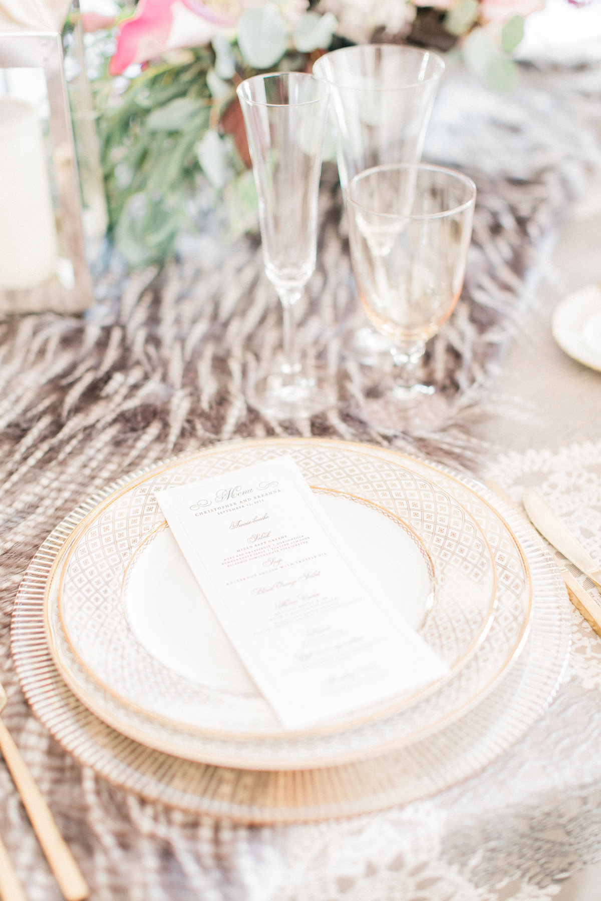 Luxe Faux Fur Textured Table Setting