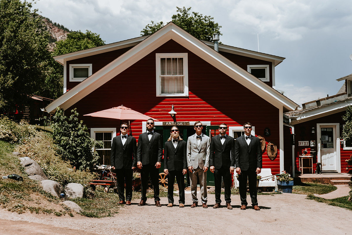 groomsmen at Avalanche Ranch Cabins & Hot Springs in Redstone, CO