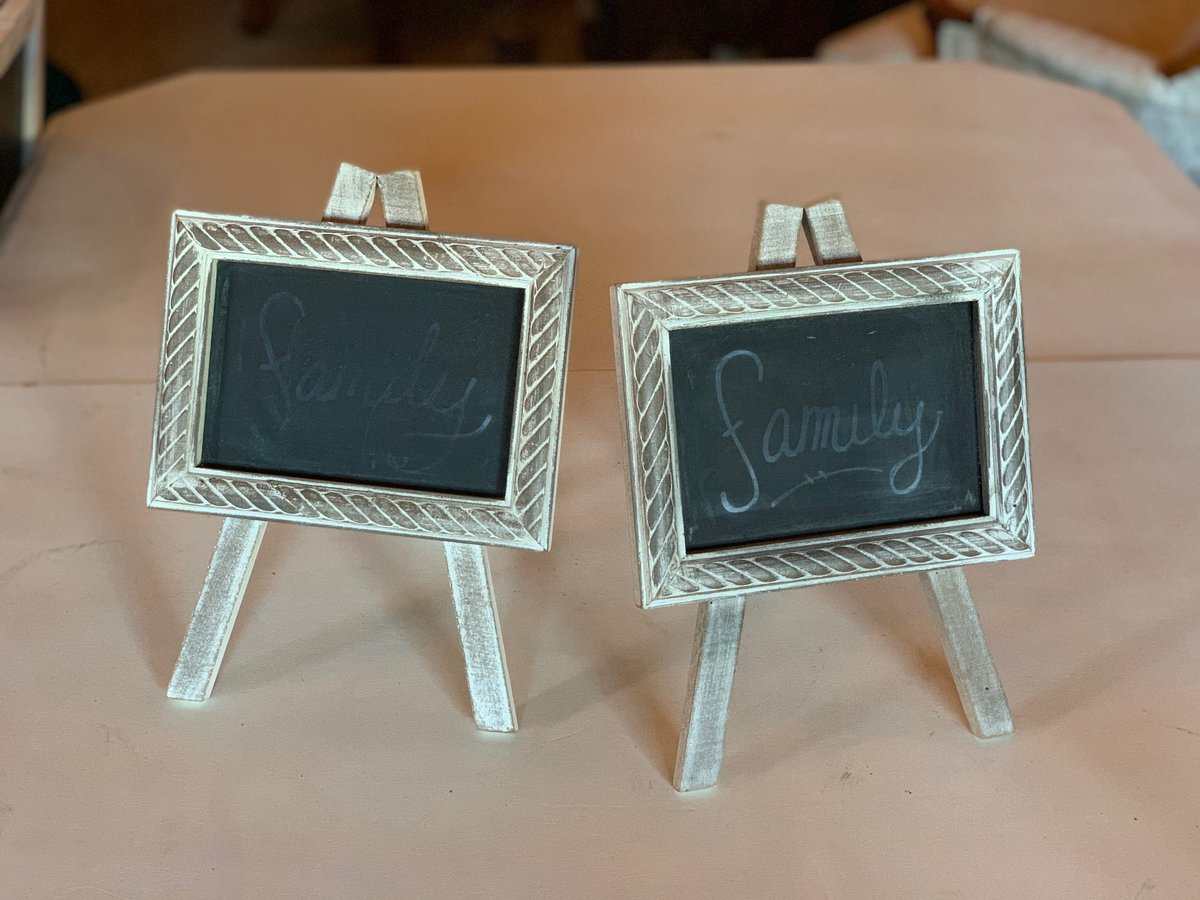 small white easel chalkboards
