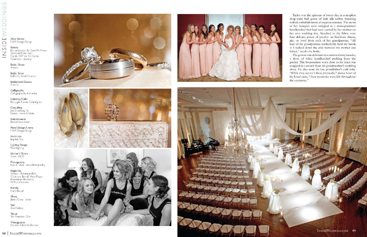 We are so honored to be a member of Inside Weddings Member's Circle. It's an incredible opportunity for us. Thank you Marilyn Oliveira, Art Scangas, and Walt Shepard for believing in us and inviting us into your circle. We are beyond honored to have Taylor and Scott's beautiful wedding at The Standard Club in Chicago created by Jan Ehrenberg founder of Parties, Events & More, featured in the Spring 2012 edition. Inside Weddings is a top wedding magazine for bride's looking to be inspired. Thank you so much! Click here for a list of vendors.