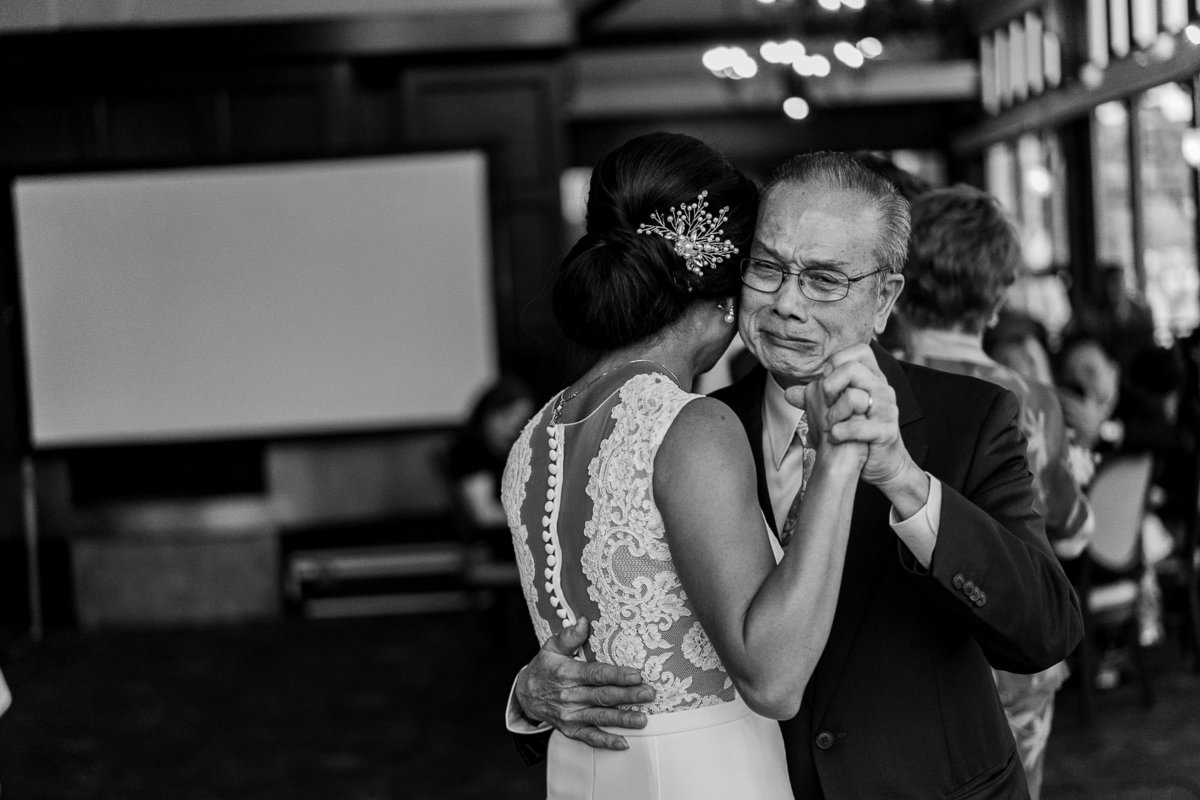 Father and daughter dance at Brides Restaurant for this Vancouver wedding