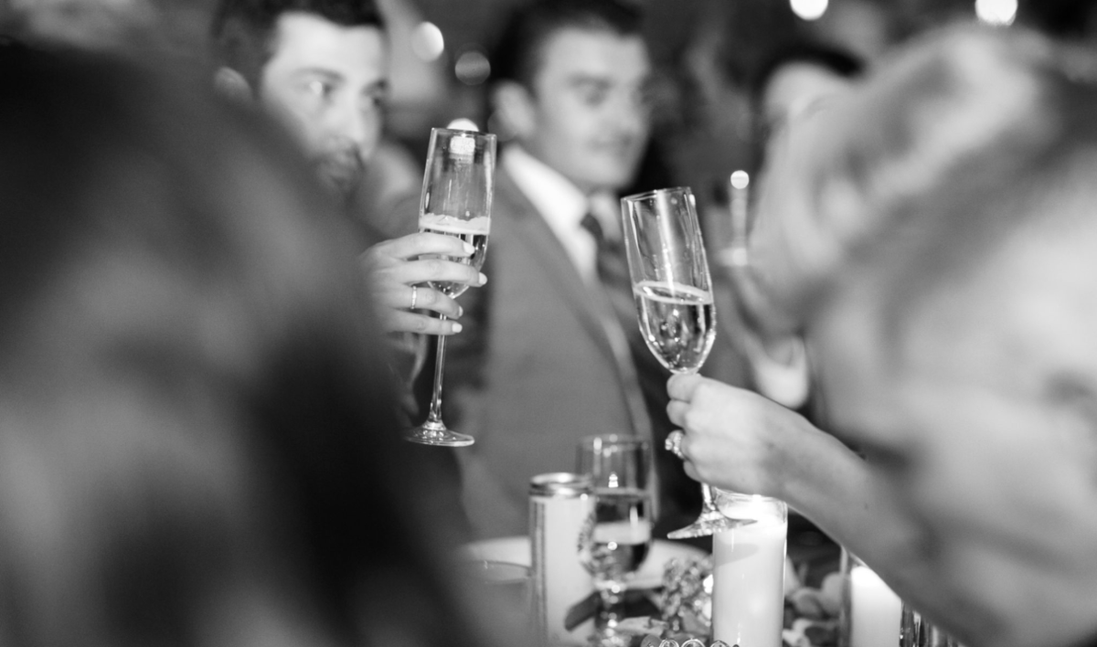 Reception Photography Champagne toast Black and White | Pittsburgh Wedding Photographer | Anna Laero