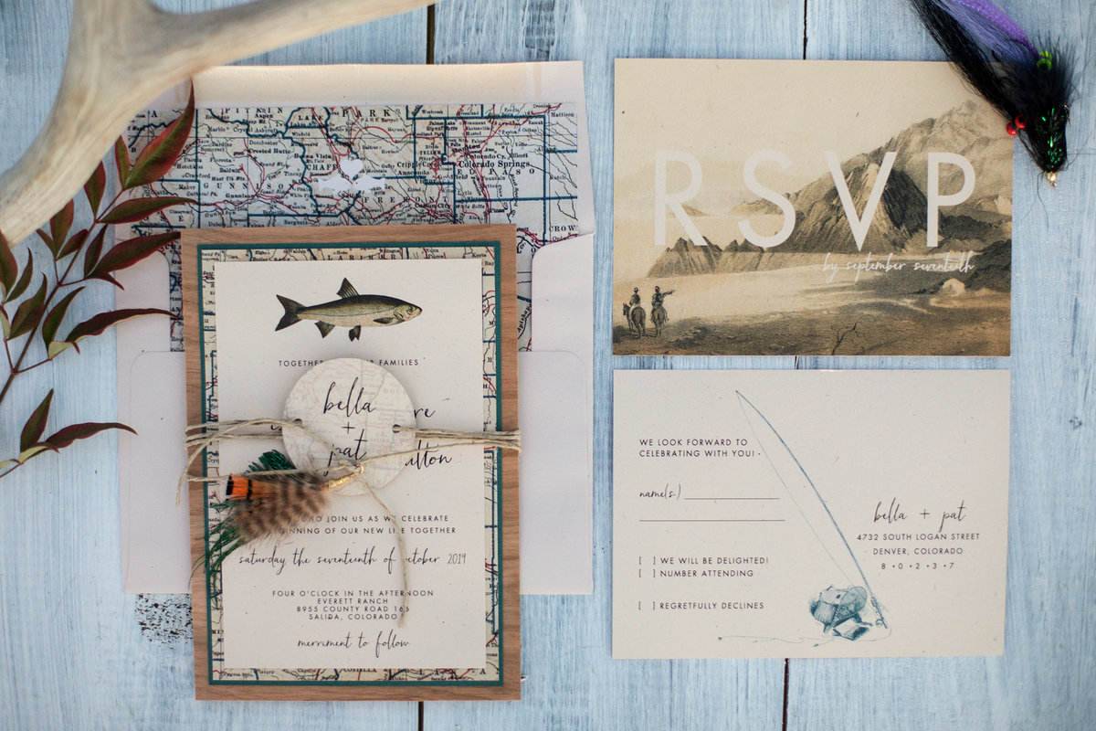 Everett Ranch Lucky Onion Invites Stationery Stationary Invitations Fish Map Vintage Salida Colorado Alpaca Collegiate Peaks Rustic Ranch Mountain Wedding