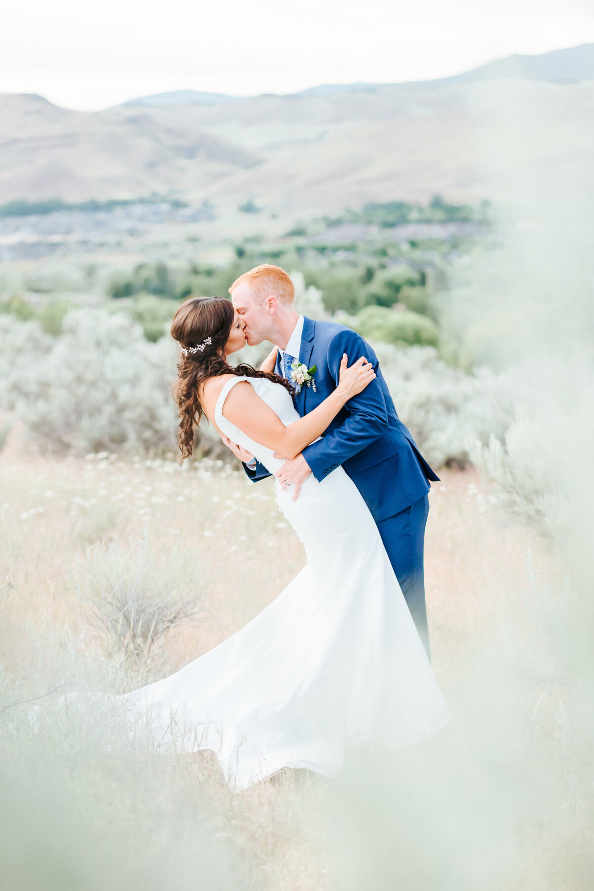 Boise Foothills Husband and Wife Wedding Golden Hour Photos