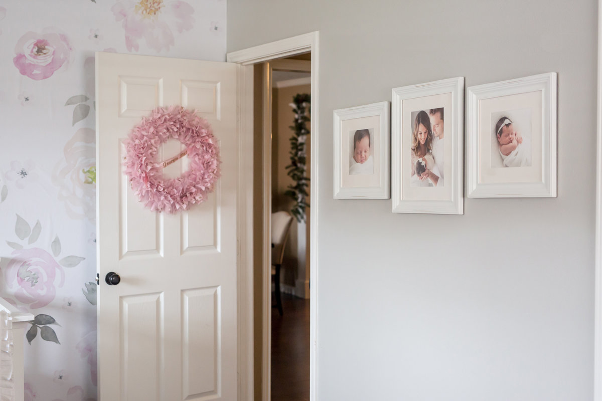 custom gallery wall design in a houston nursery