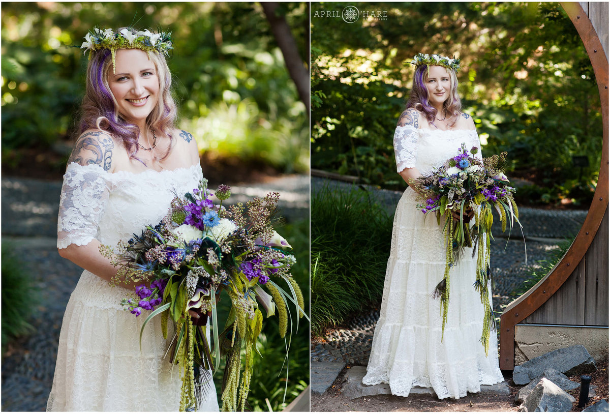 Bride wearing a flower crown at Denver Botanic Gardens Circle Gate