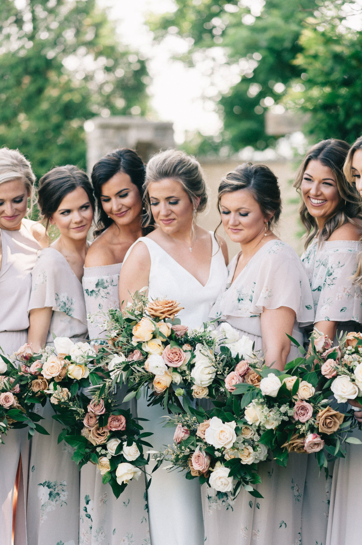 Bridesmaids with their bouquets at Park Crest in Hoover AL