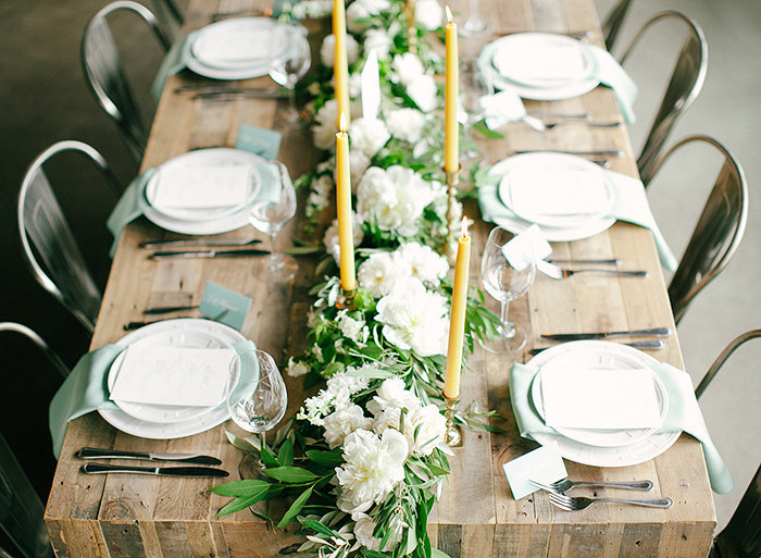 white floral table garland