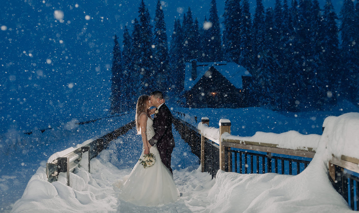 emerald lake lodge winter wedding snowstorm