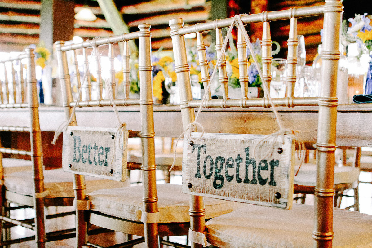 Chair signs for a wedding at the Log Cabin in San Francisco