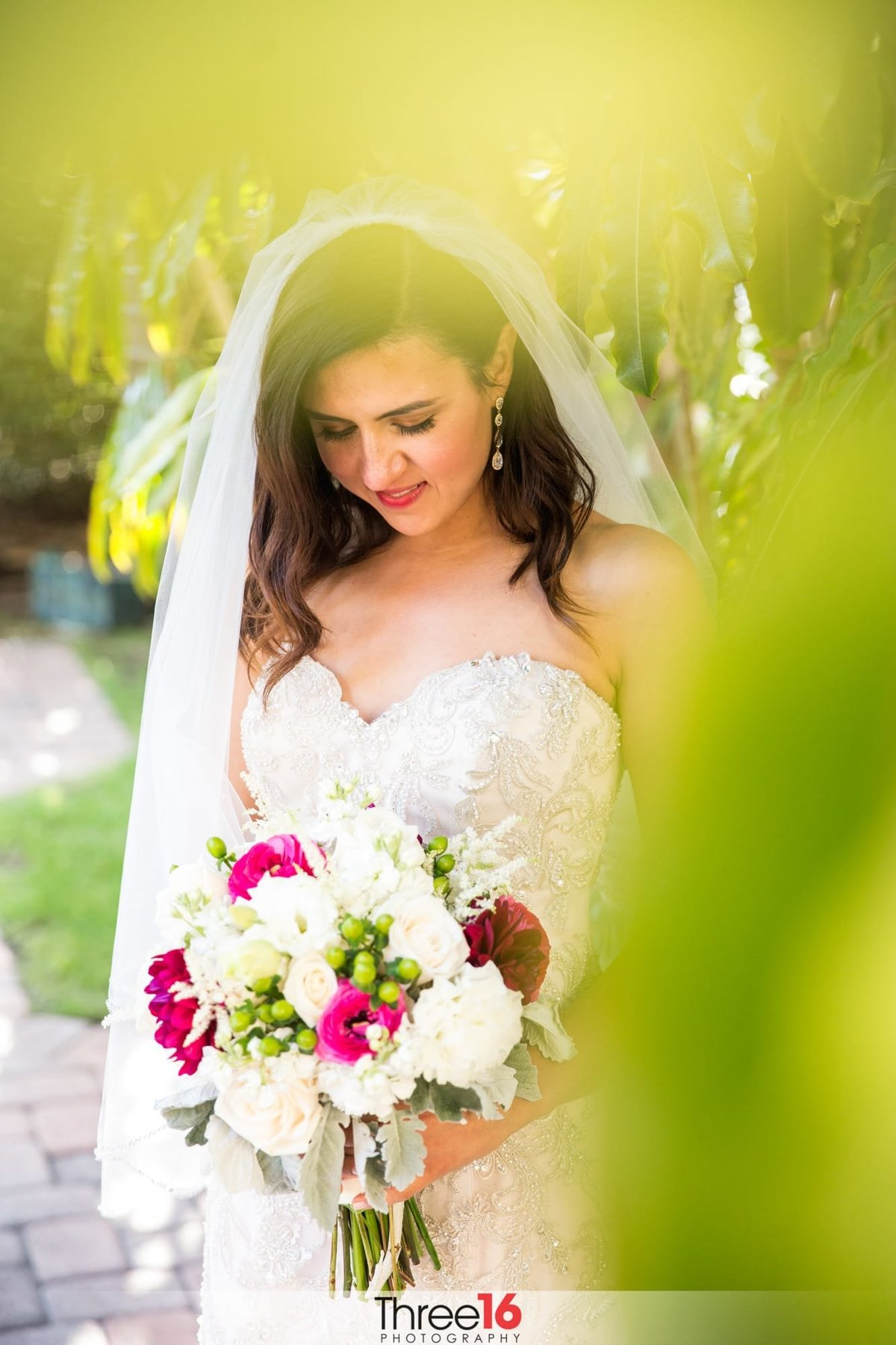 Gorgeous Bride posing with her bouquet