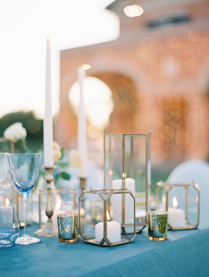 candles on a reception table for a wedding