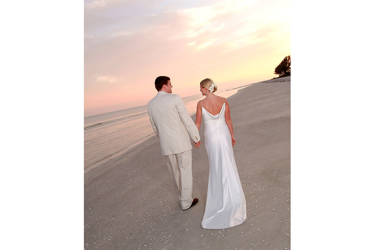 sundial wedding sunset on beach