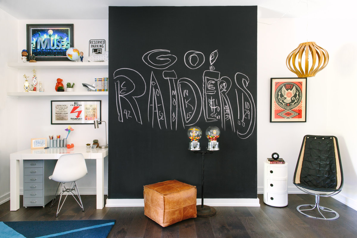 Modern boys bedroom with chalkboard wall