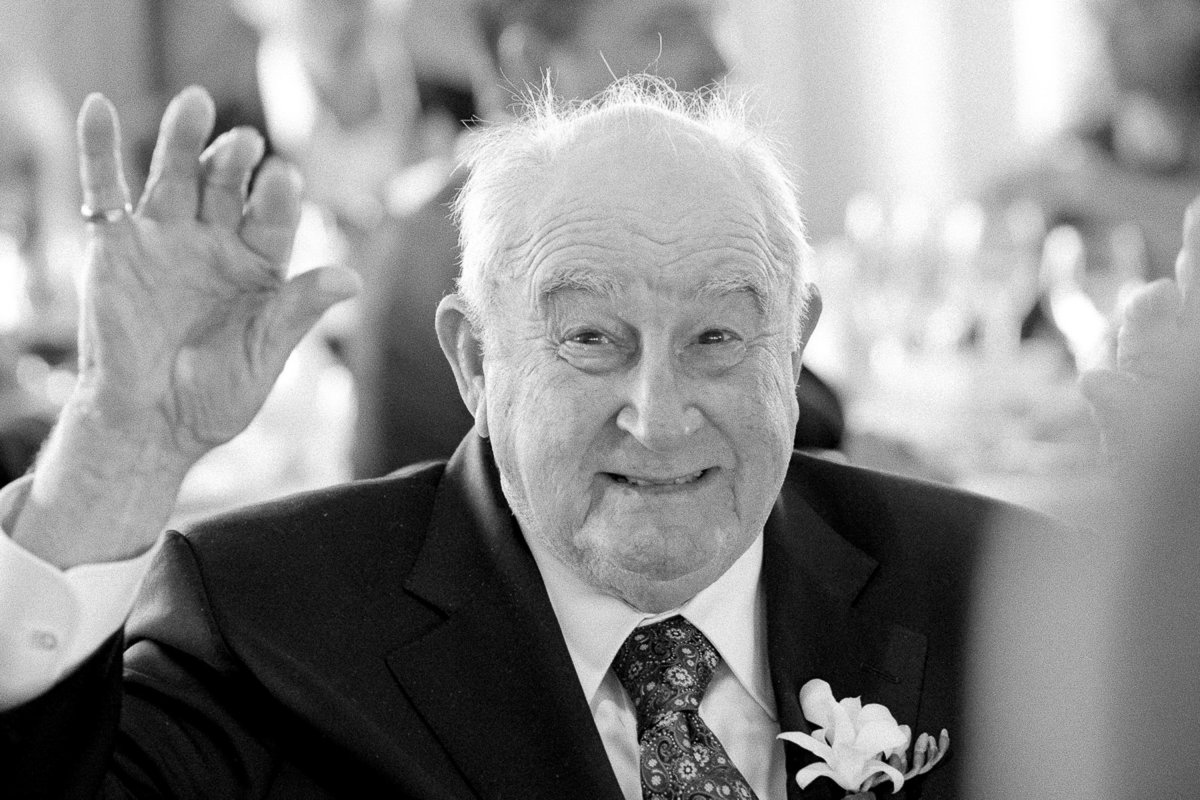 The bride's grandfather saying hello at a wedding in San Francisco.