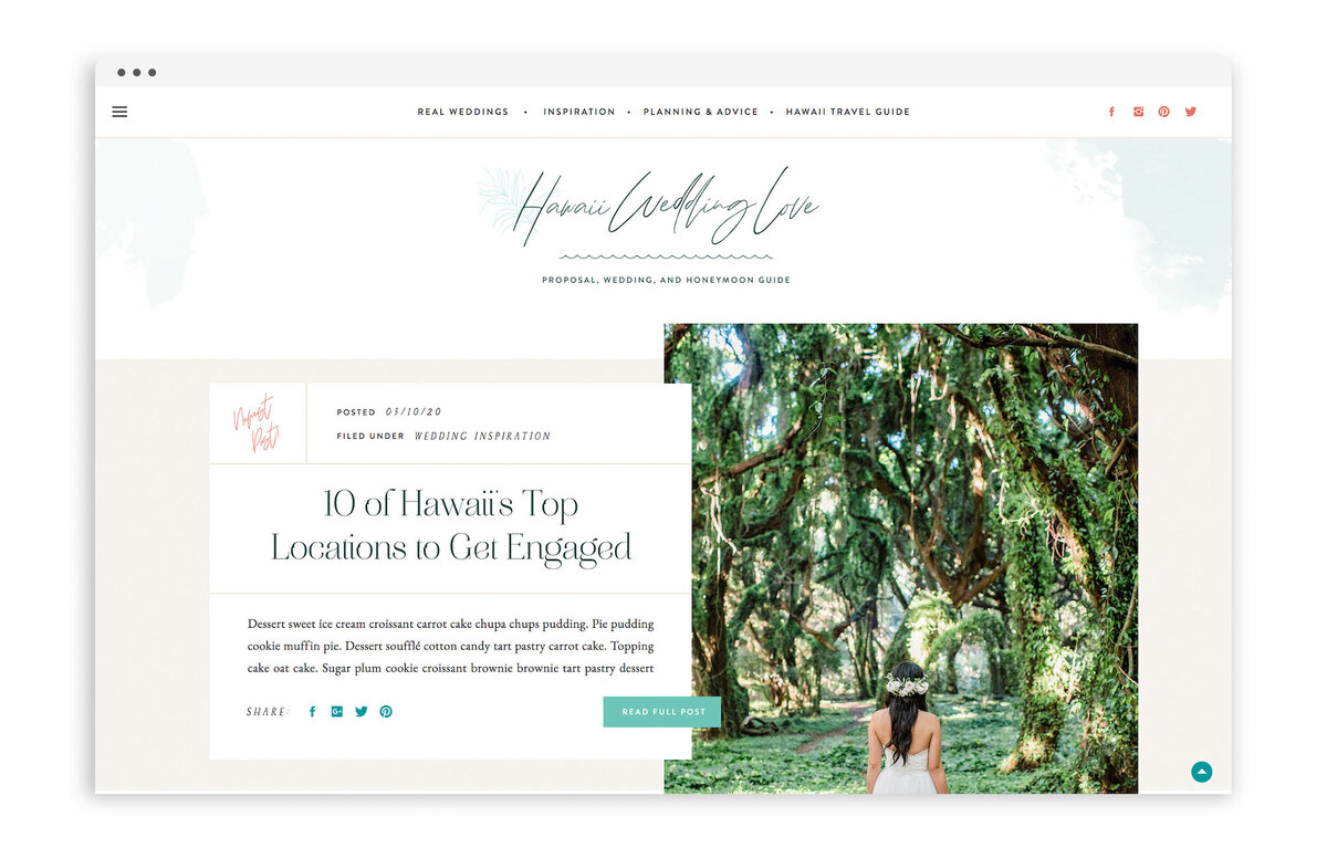 Hawaii Wedding Love - Custom Brand Logo and Showit Web Website Design by With Grace and Gold - 14