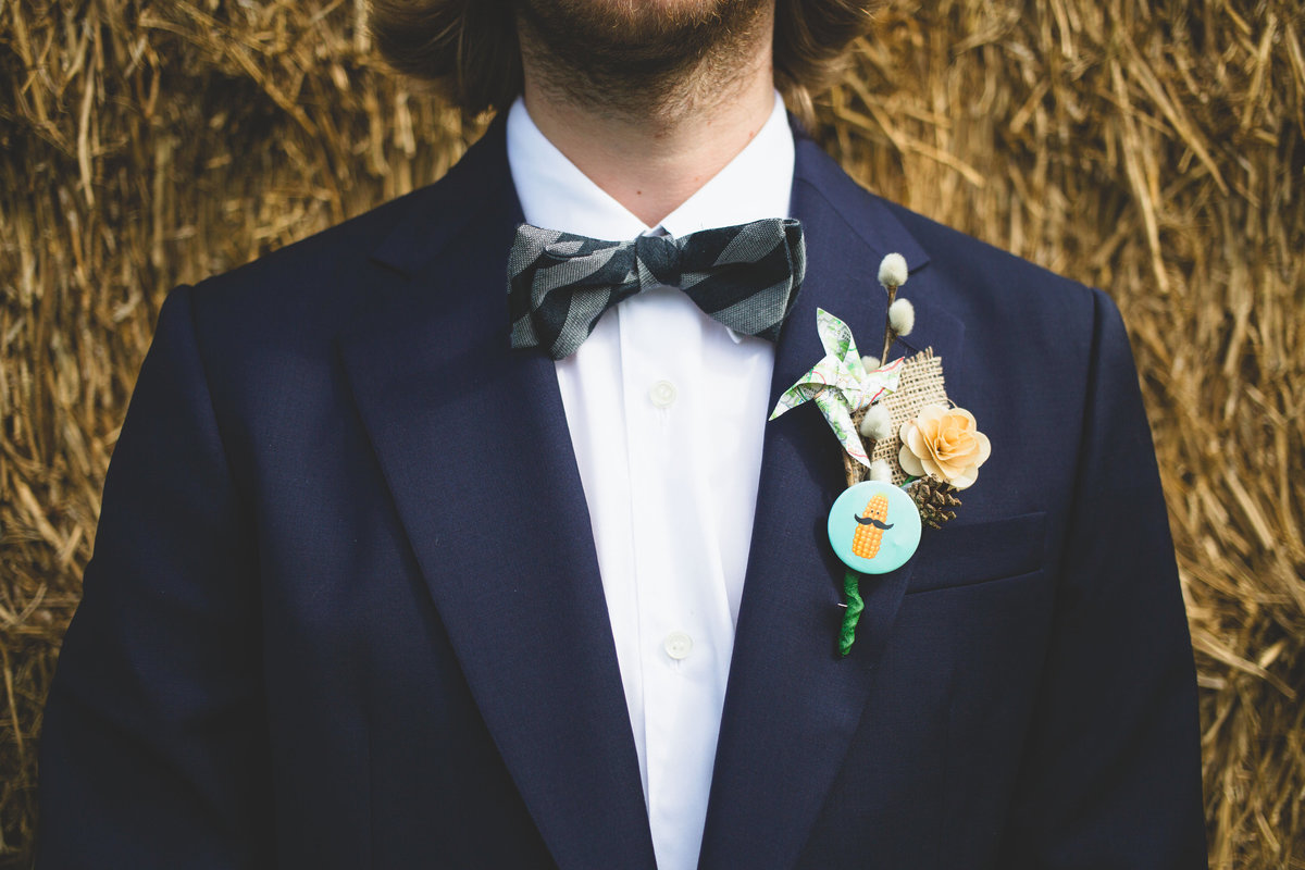 grooms bow tie and closeup