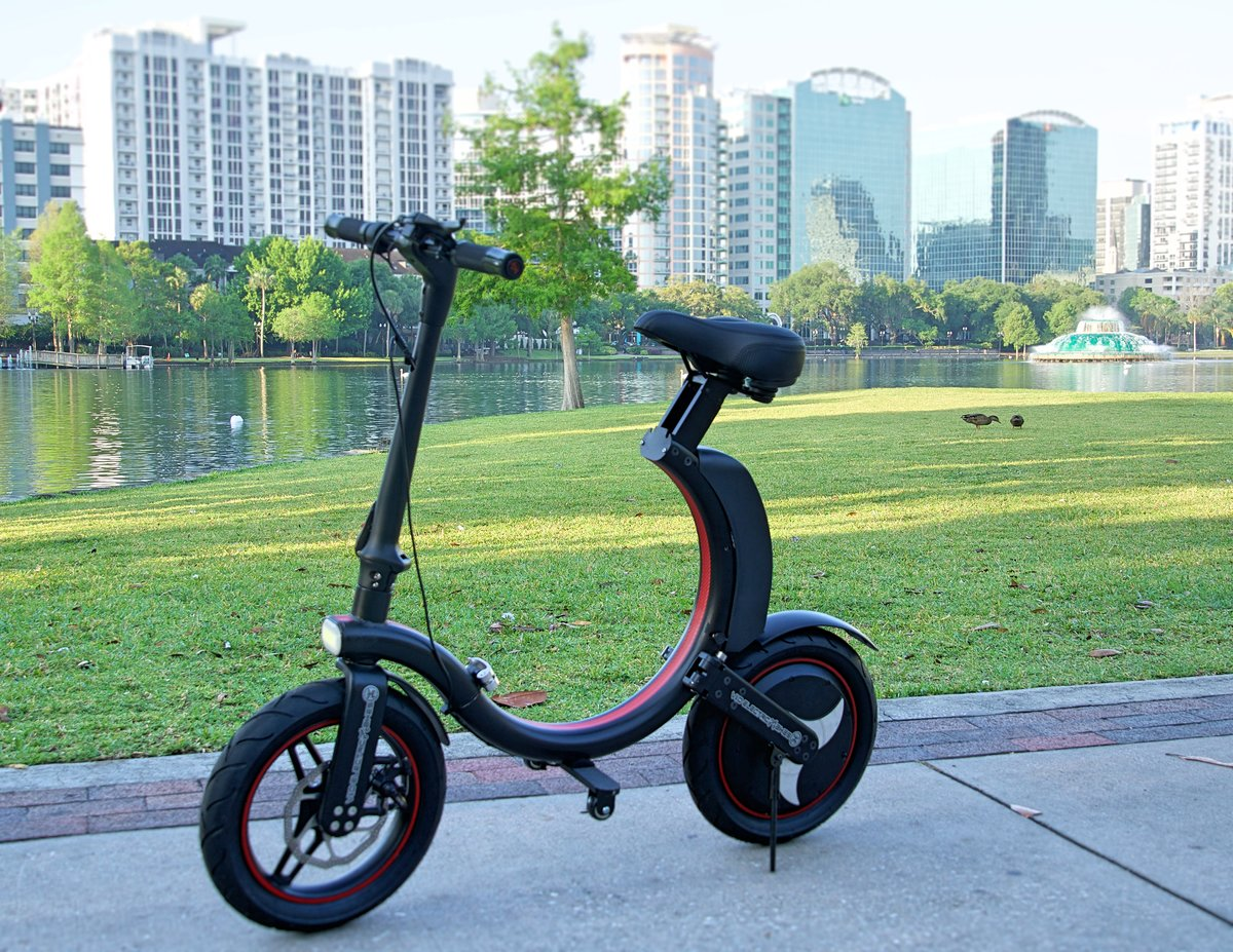 Black and red Go-Bike Q1 at Lake Eola; V&D Electric Bikes