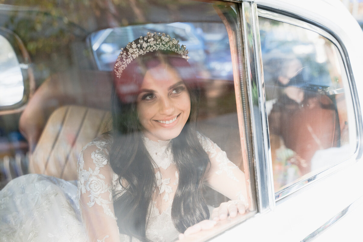 bride in a limo
