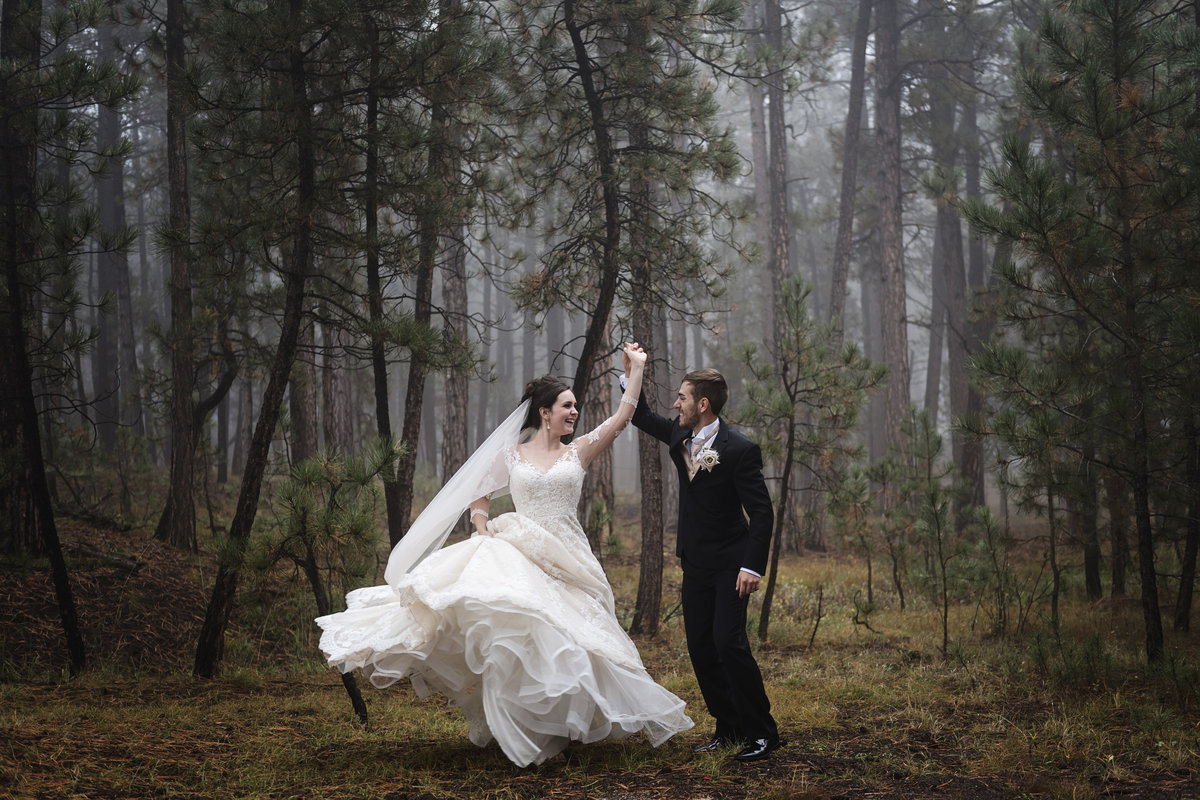 The morning fog filled the forest at this wedding