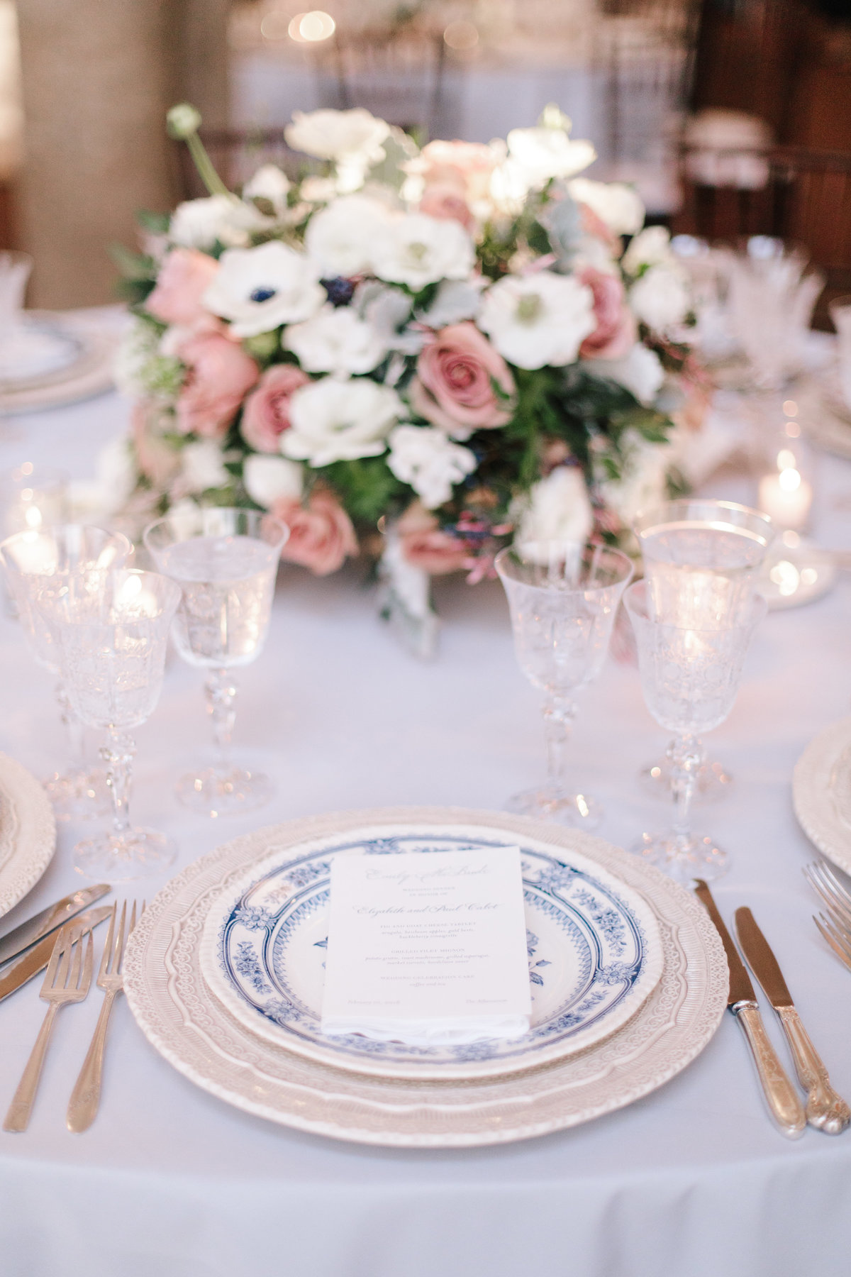 Tablescape for wedding by Jenny Schneider Events at The Anthenaeum in Pasadena, California. Photo by Heather Kincaid Photography.