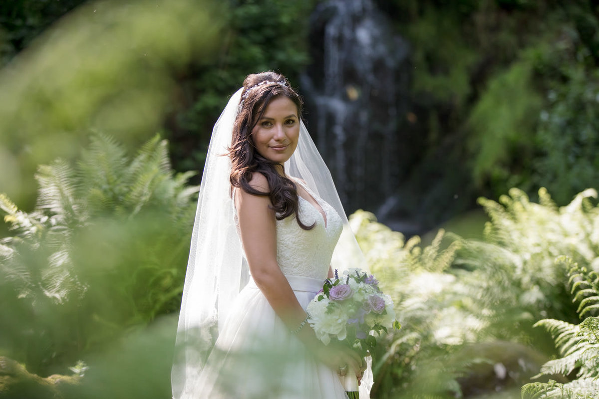 Bride at the cascade at Hestercombe Gardens wedding Somerset