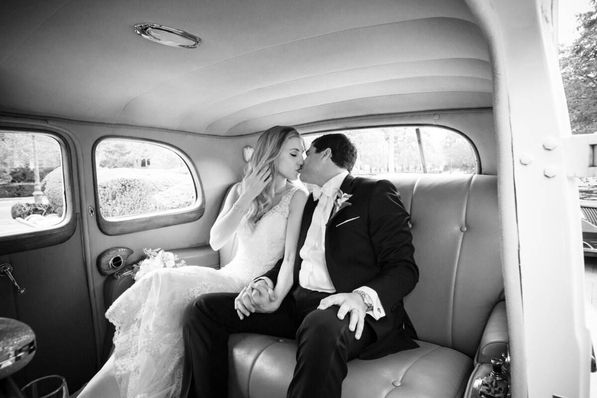 bride & groom in limo
