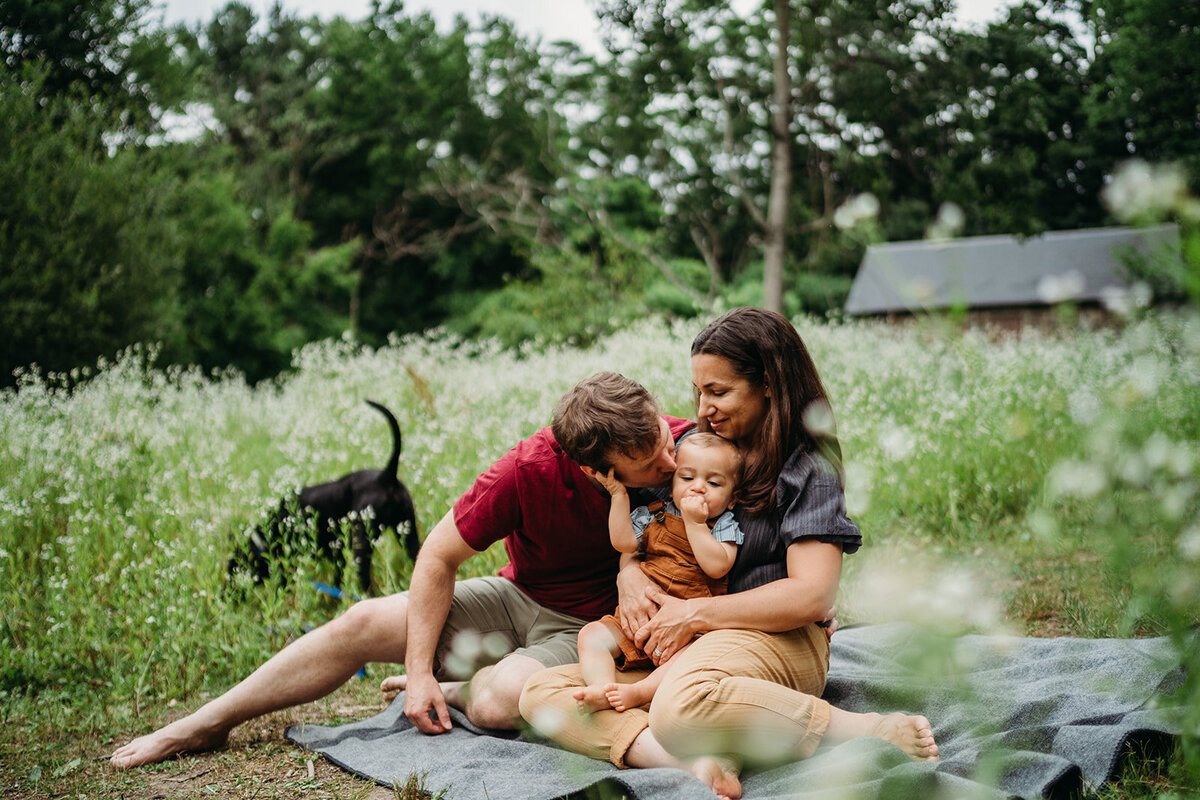 family with toddler son and dog snuggle on blanket in wildflowers during family photos