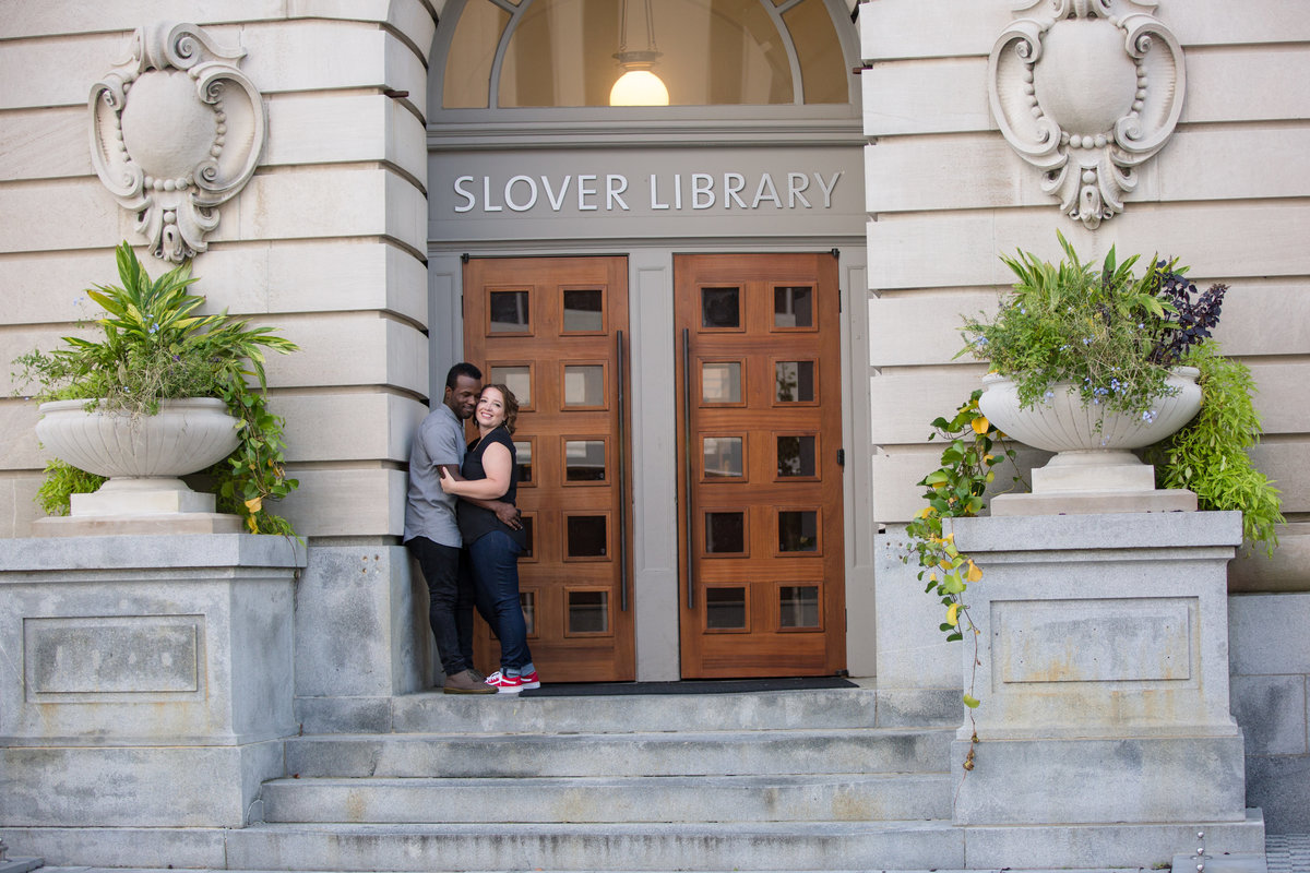 couple hugging at slover library