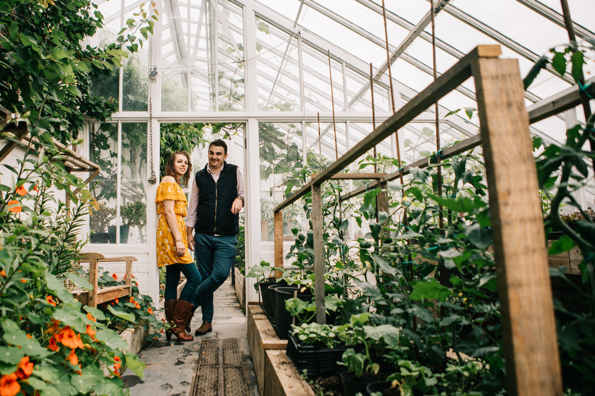 green house engagement photos, glass house, growing veg