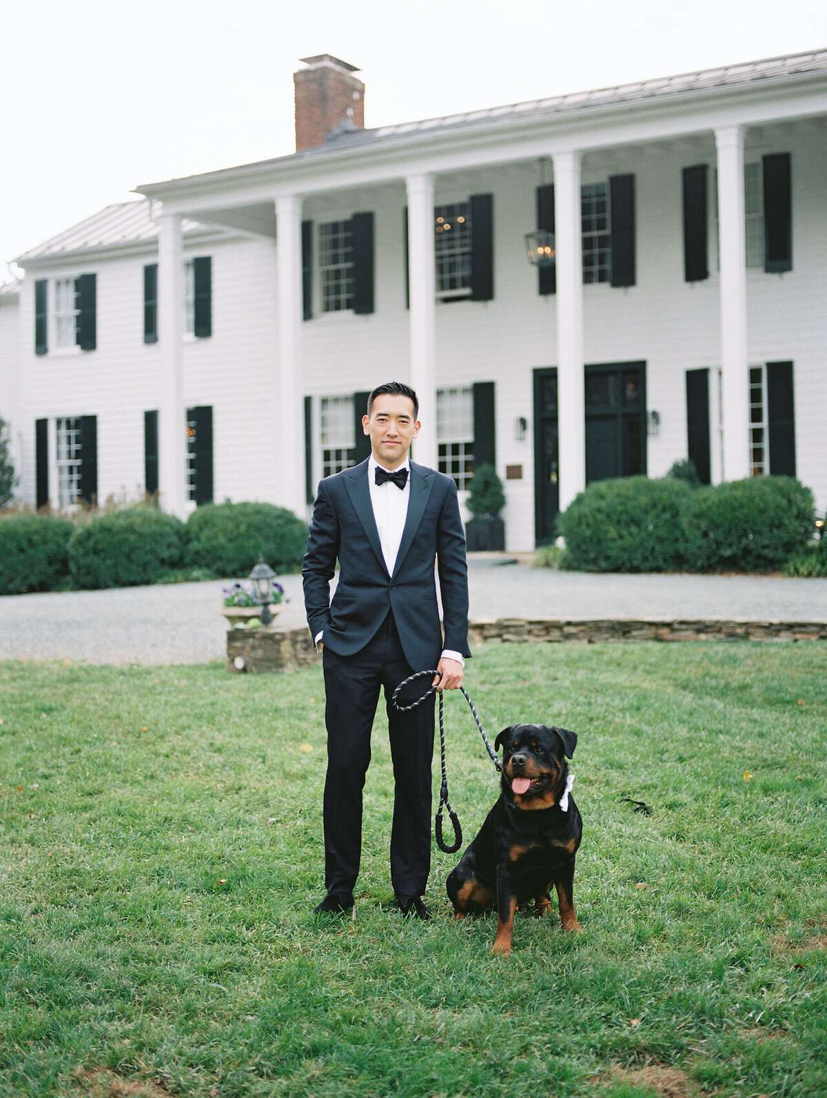 Groom Portraits with Dog Robert Aveau for © Bonnie Sen Photography