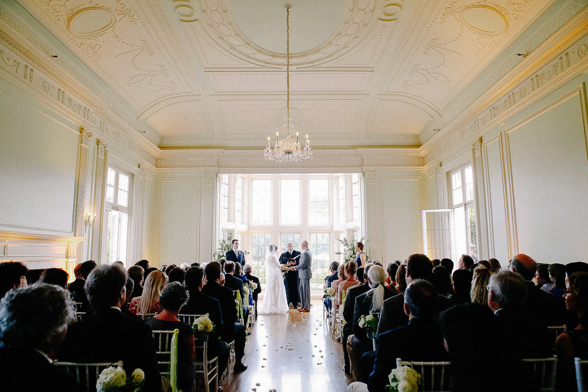 An indoor ceremony at the Kohl Mansion.