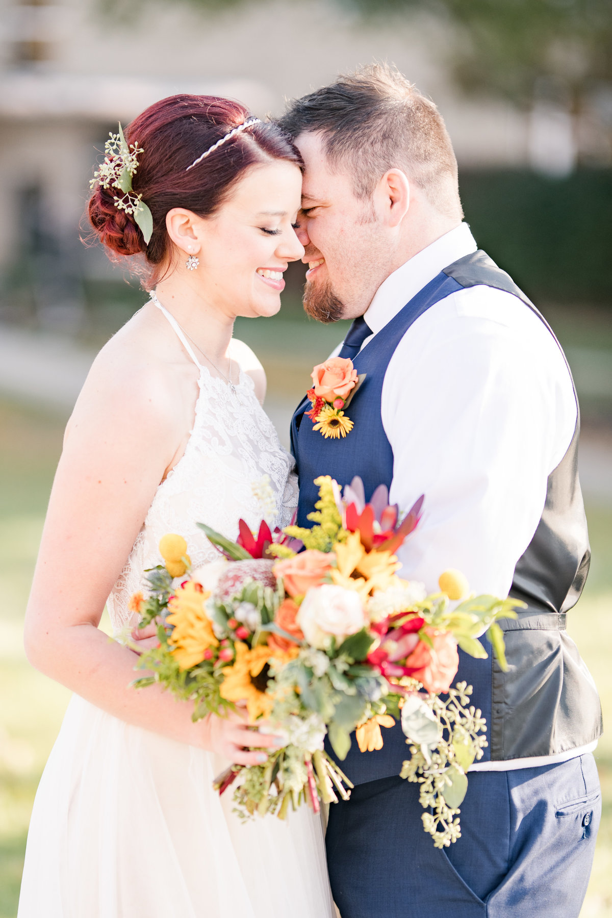 Couple Portraits Wedding Brewery Cincinnati Ohio Colorful Flowers-76