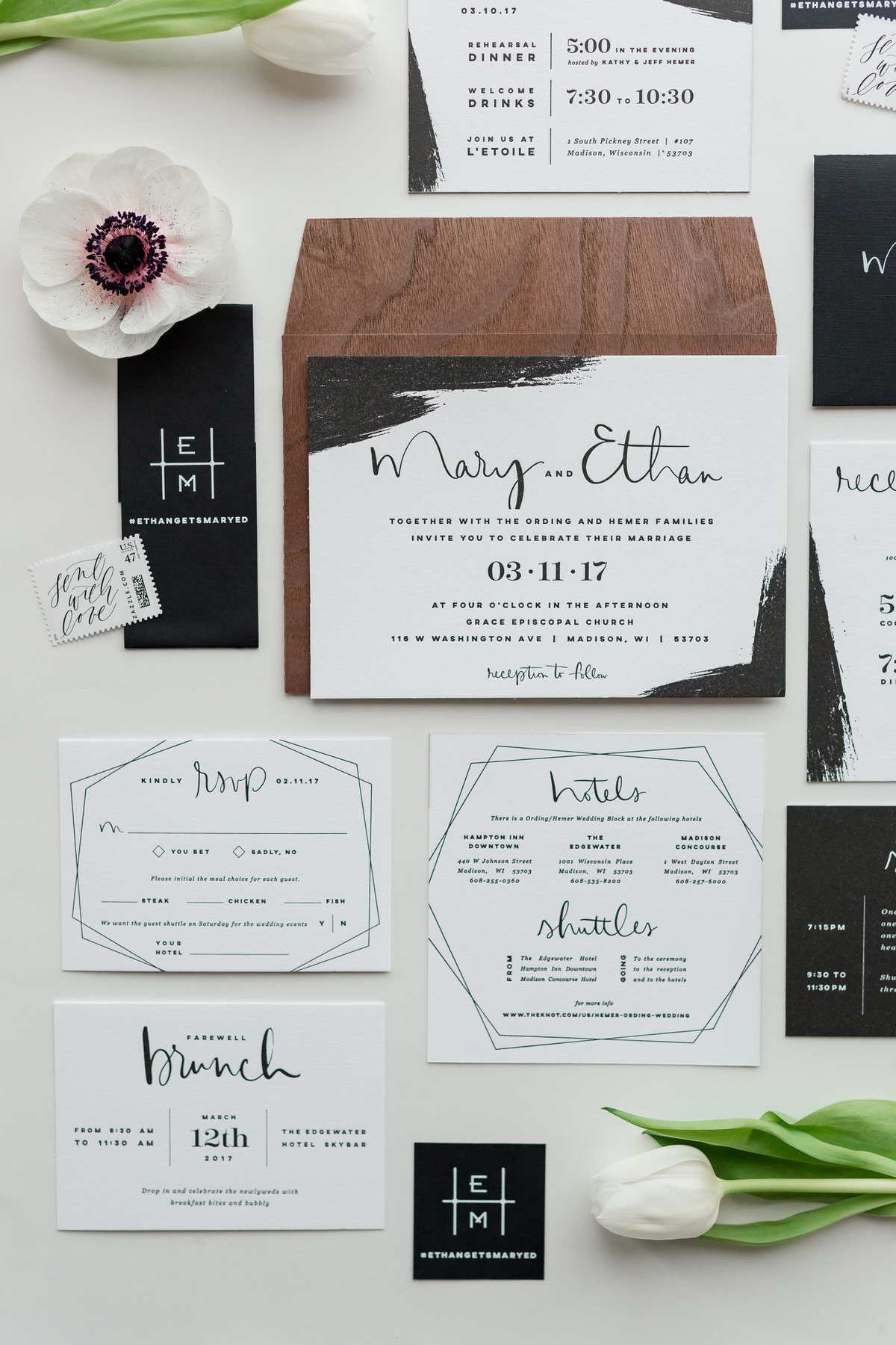 white and black wedding invitation suite, white tulips