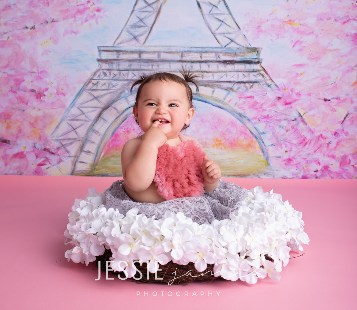 one year old girl sitting in a floral wreath, paris themed photoshoot