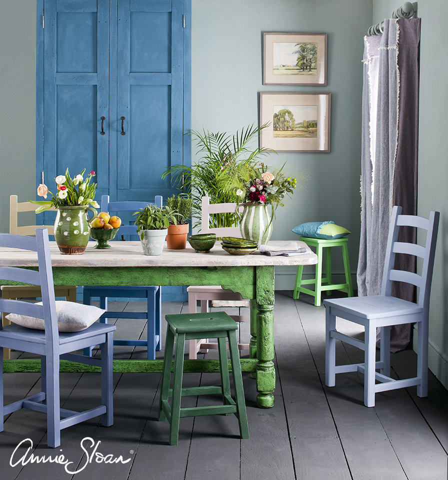 Spring-Dining-Room-Duck-Egg-Blue-Wall-Paint-Multi-coloured-chairs-Linen-Unions-image-1