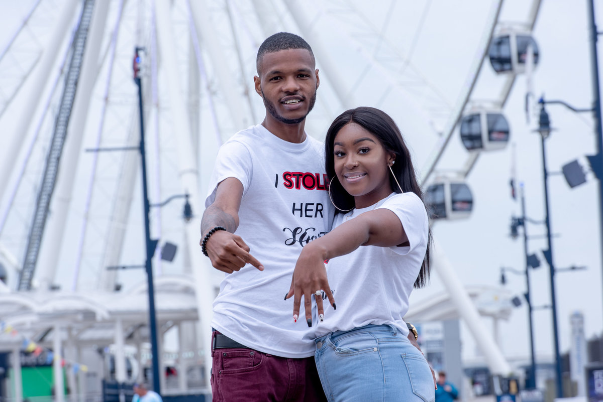 Ferris wheel and engagement session National Harbor