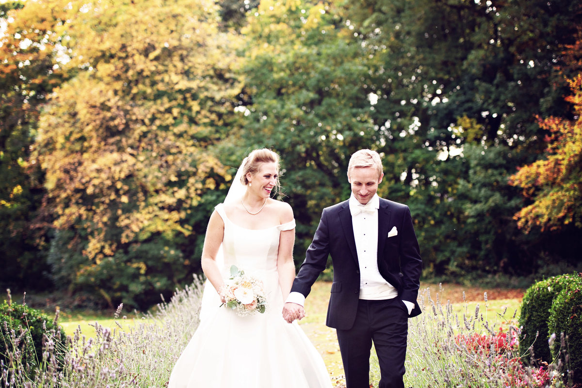 A Bride and groom in the gardens of Ashfield House in Lancashire