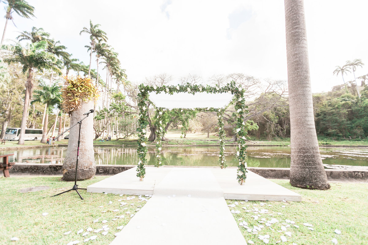 Wedding ceremony site on the front lawn at Codrington College, Barbados
