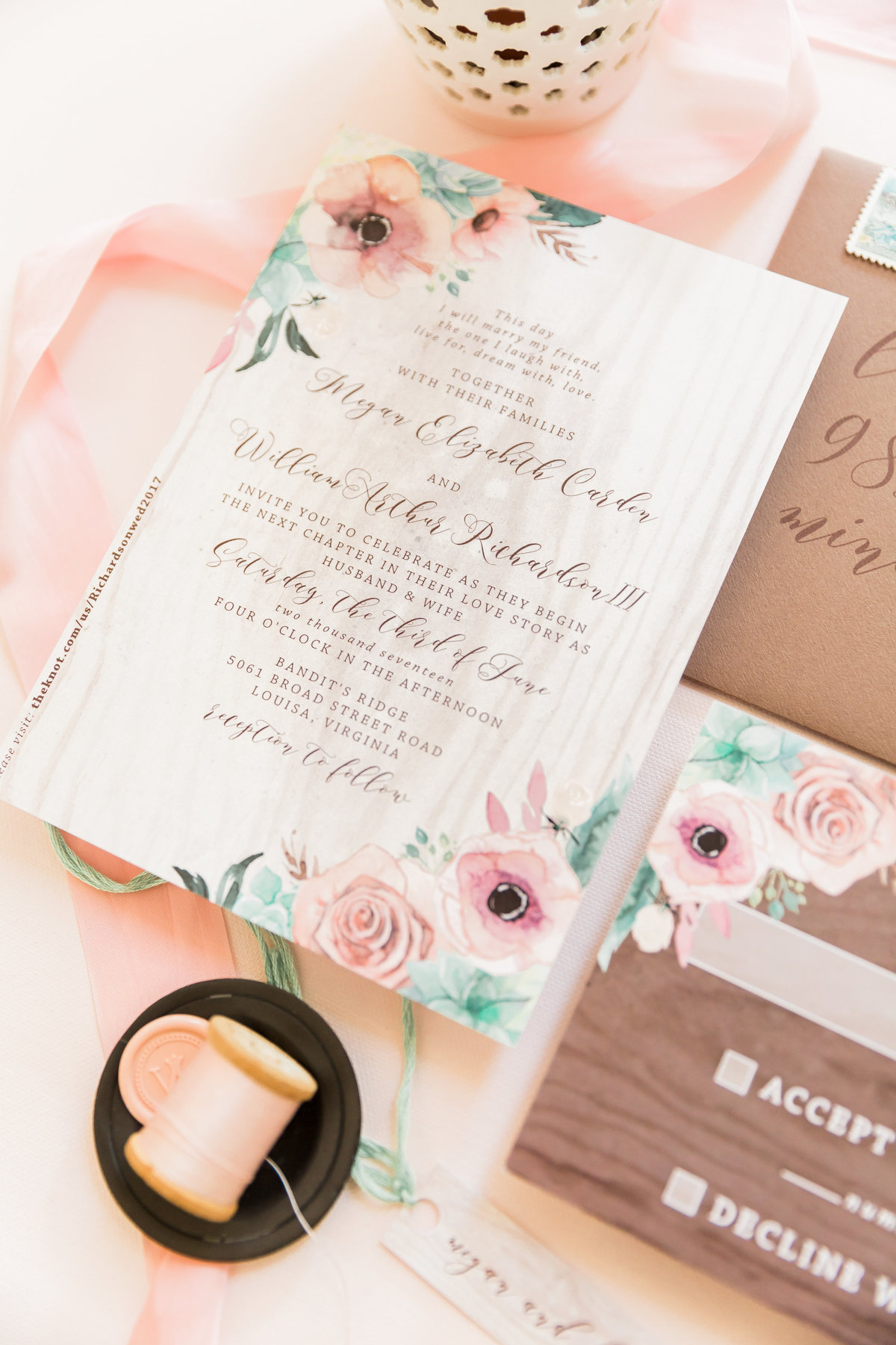 turquoise pink wedding invitation