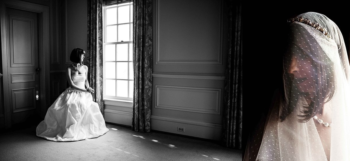Dark and Moody Bridal Portraits at Great Marsh Estate