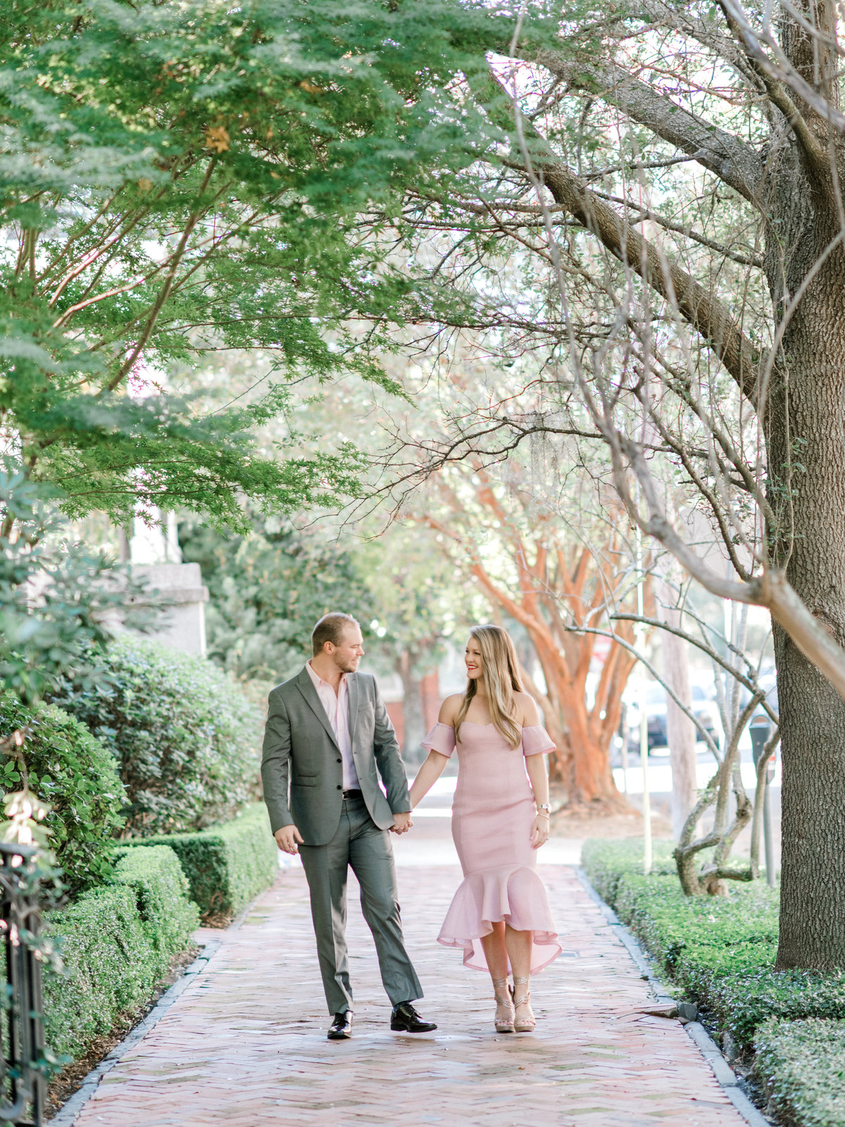 Couple walking through downtown Savannah