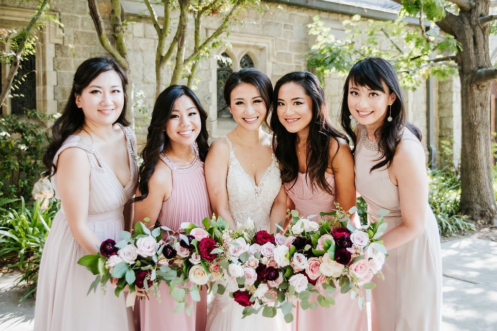 Bride-Bridesmaids-Pink-Dresses