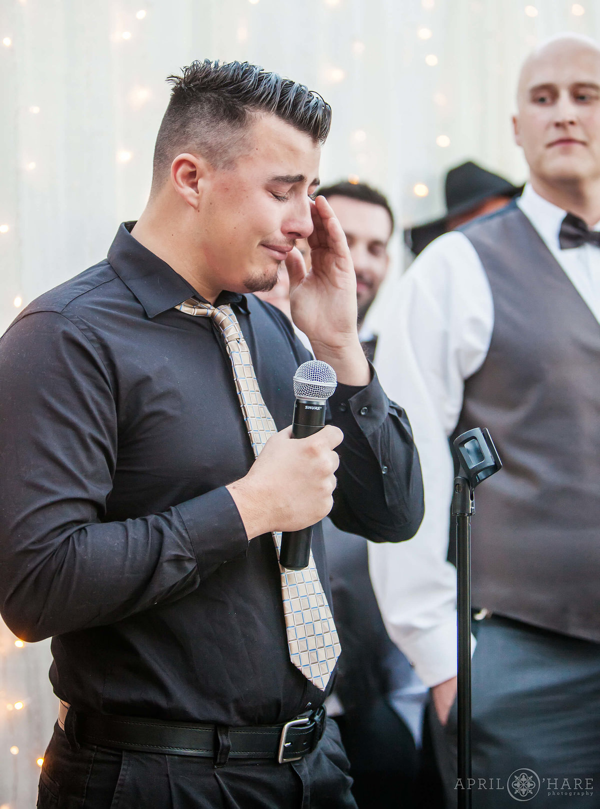 Emotional wedding photography on a rooftop deck in the Highlands in Denver Colorado