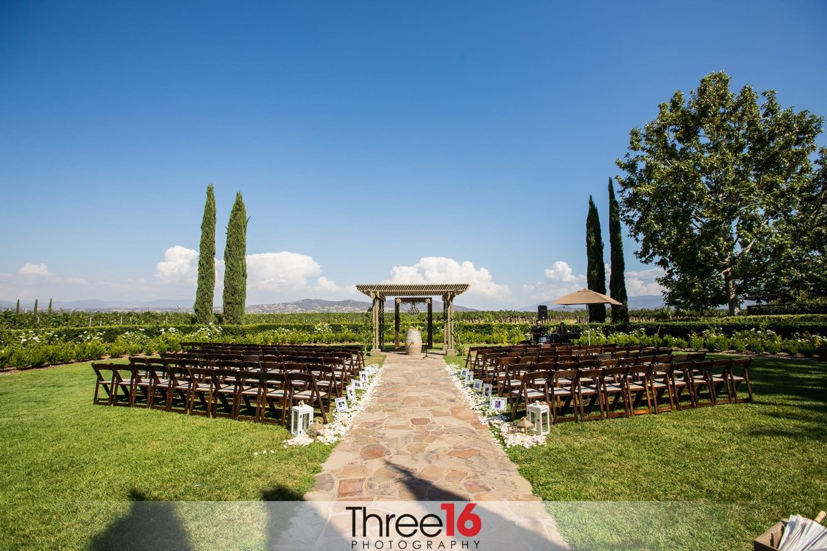 Ponte Winery wedding ceremony setup