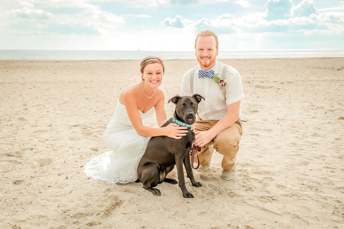 Bald Head Island NC Wedding Photography - Anna and Ray - Bride and Groom and Dog - Wilmington Photographer Team