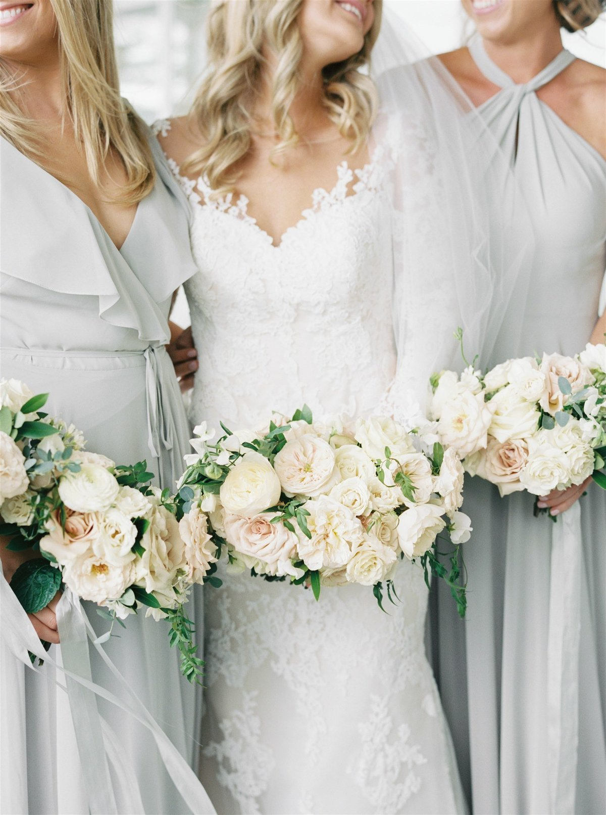 Garden inspired bouquets with gray bridesmaids dresses for a Cape Cod Wedding by luxury Cape Cod wedding planner and designer Always Yours Events