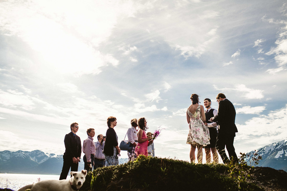 intimate wedding ceremony at bird point surrounded by family