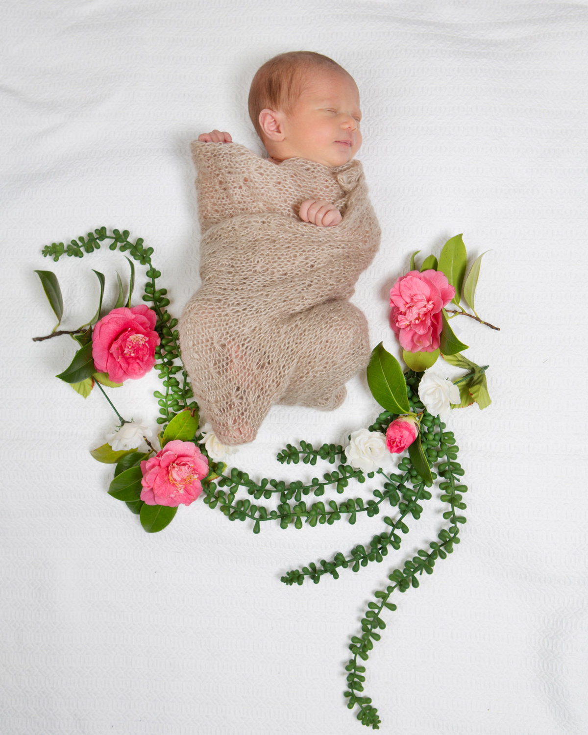 Baby Blanket Greenery Photoshoot Portrait