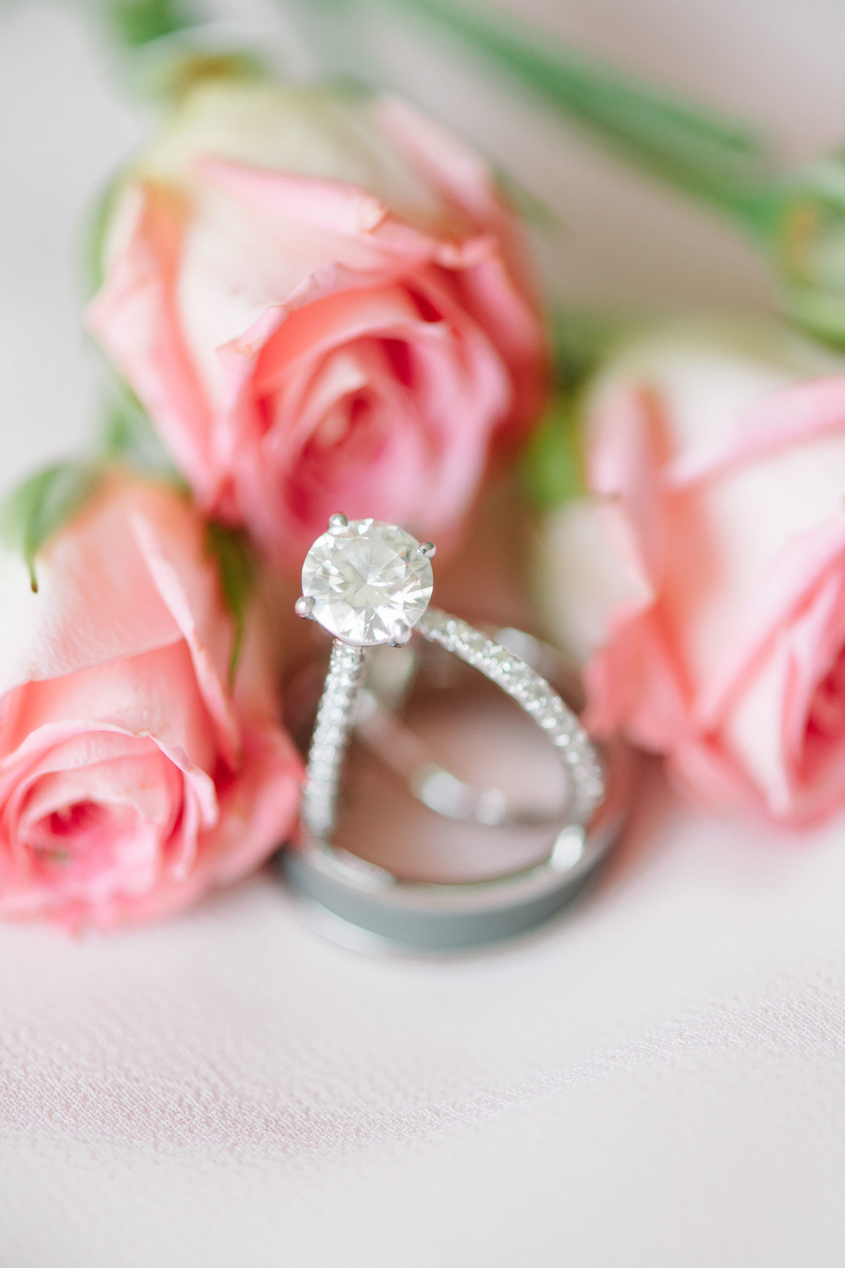 Classic Diamond Ring Pink Roses